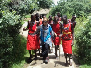 Suzan with Masai villagers